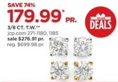 JCPenney Black Friday: 3/8-ct T.W. Round Diamond 14K Gold Stud Earrings for $179.99