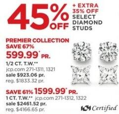 JCPenney Black Friday: 1/2-ct T.W. Diamond Solitaire Earrings + Extra 35% Off for $599.99