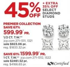 JCPenney Black Friday: 1-ct T.W. Diamond Solitaire Earrings + Extra 35% Off for $1,599.99