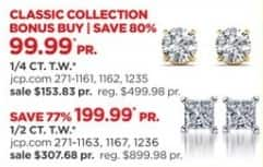 JCPenney Black Friday: 1/2-ct T.W. Round or Princess Cut Diamond 14k Gold Stud Earrings for $199.99