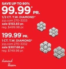 JCPenney Black Friday: Diamond Blossom 1/2-ct T.W. Diamond 10k Gold Stud Earrings for $99.99