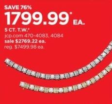 JCPenney Black Friday: 5-ct T.W. Diamond 10k Gold Tennis Bracelet for $1,799.99
