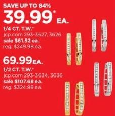 JCPenney Black Friday: 1/4-ct T.W. Diamond 14k Gold Hoop Earrings for $39.99