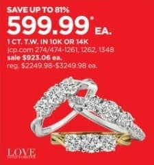 JCPenney Black Friday: 1-ct T.W. 3-Stone Diamond 10k or 14k Gold Ring for $599.99
