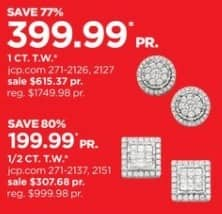 JCPenney Black Friday: TruMiracle 1/2-ct T.W. Diamond 10k Gold Stud Earrings for $199.99