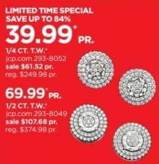 JCPenney Black Friday: 1/4-ct T.W. Diamond Sterling Silver Stud Earrings for $39.99