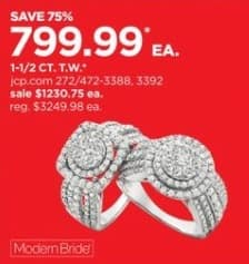 JCPenney Black Friday: 1 1/2-ct T.W. Genuine Diamond 10k Gold Engagement Ring for $799.99
