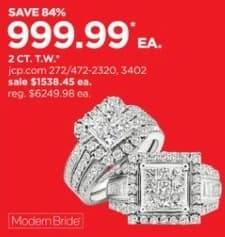 JCPenney Black Friday: 2-ct T.W. Diamond 10k Gold Ring for $999.99