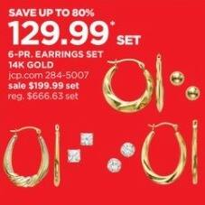 JCPenney Black Friday: Cubic Zirconia 14k Gold 6 Pair Earrings Set for $129.99