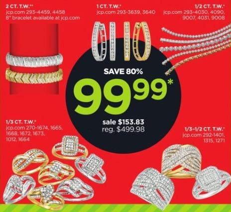 JCPenney Black Friday: 1-ct T.W. Diamond Sterling Silver Hoop Earrings for $99.99