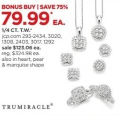 JCPenney Black Friday: TruMiracle 1/4-ct T.W. Diamond Sterling Silver Pendant or Ring, Select Styles for $79.99