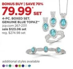 JCPenney Black Friday: Genuine Blue Topaz 4-pc Jewelry Set for $79.99
