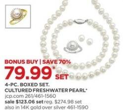JCPenney Black Friday: Cultured Freshwater Pearl 4-pc Jewelry Set for $79.99