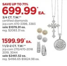 JCPenney Black Friday: 1 1/2 to 2-ct T.W. Diamond Necklace or Earrings, Select Styles for $1,599.99
