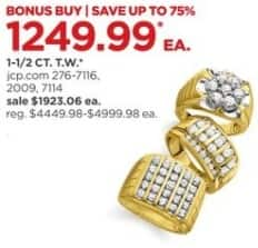 JCPenney Black Friday: 1 1/2-ct T.W. Diamond Men's Ring, Select Styles for $1,249.99