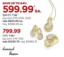 JCPenney Black Friday: 3/4-ct T.W. Diamond Necklace or Earrings for $599.99