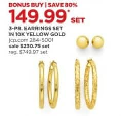 JCPenney Black Friday: 10k Gold 3-pr Earrings Set for $149.99