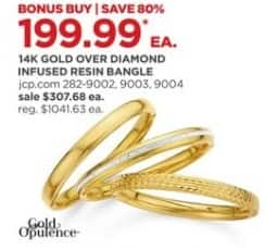 JCPenney Black Friday: Gold Opulence 14k Gold Over Diamond Infused Resin Bangle for $199.99