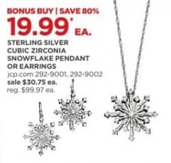 JCPenney Black Friday: Cubic Zirconia Sterling Silver Snowflake Pendant or Earrings for $19.99