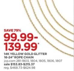 """JCPenney Black Friday: 16-24"""" 14k Yellow Gold Glitter Rope Chain for $99.99 - $139.99"""