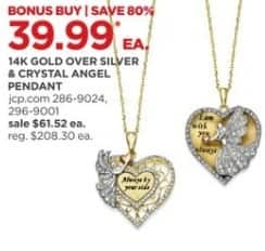 JCPenney Black Friday: 14k Gold Over Silver and Crystal Angel Pendant for $39.99
