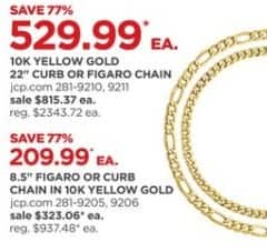 """JCPenney Black Friday: 10k Yellow Gold 22"""" Curb or Figaro Chain for $529.99"""