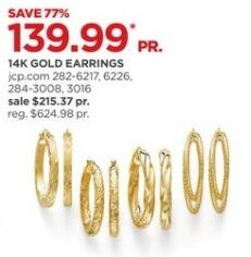 JCPenney Black Friday: 14k Gold Earrings, Select Styles for $139.99