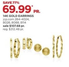 JCPenney Black Friday: 14k Gold Earrings, Select Styles for $69.99