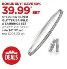 JCPenney Black Friday: Sterling Silver Glitter Bangle and Earrings Set for $39.99