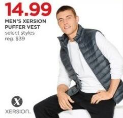 JCPenney Black Friday: Xersion Men's Puffer Vest, Select Styles for $14.99