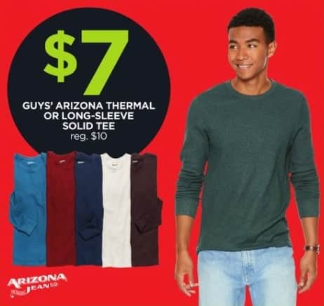 JCPenney Black Friday: Arizona Guys' Thermal or Long-Sleeve Solid Tee for $7.00