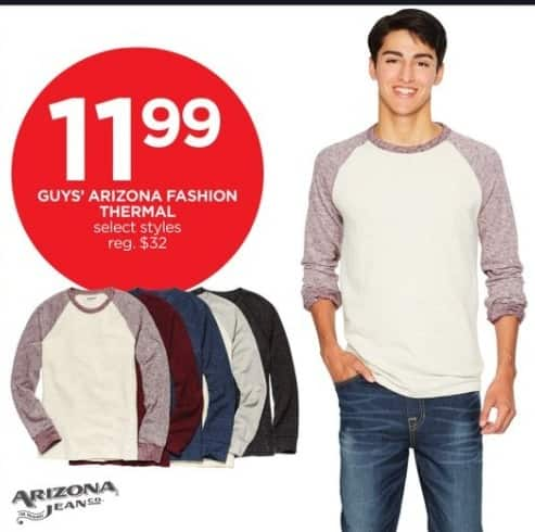 JCPenney Black Friday: Arizona Guys' Fashion Thermal, Select Styles for $11.99