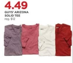 JCPenney Black Friday: Arizona Guys' Solid Tee for $4.49