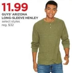 JCPenney Black Friday: Arizona Guys' Long-Sleeve Henley, Select Styles for $11.99