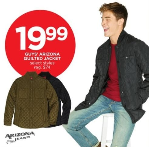 JCPenney Black Friday: Arizona Guys' Quilted Jacket, Select Styles for $19.99