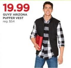 JCPenney Black Friday: Arizona Guys' Puffer Vest for $19.99