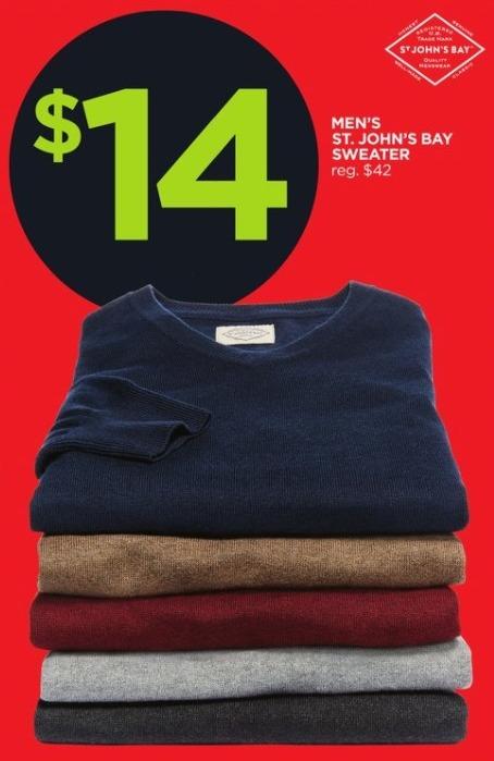 JCPenney Black Friday: St. John's Bay Men's Sweater for $14.00