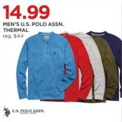 JCPenney Black Friday: U.S. Polo Assn. Men's Thermal for $14.99