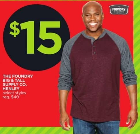 JCPenney Black Friday: The Foundry Big & Tall Supply Co. Men's Henley, Select Styles for $15.00