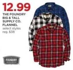 JCPenney Black Friday: The Foundry Big & Tall Supply Co. Men's Flannel, Select Styles for $12.99