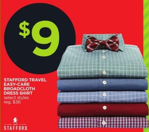 JCPenney Black Friday: Stafford Men's Travel Easy-Care Broadcloth Dress Shirt, Select Styles for $9.00