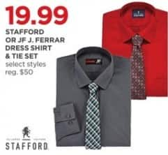 JCPenney Black Friday: Stafford or JF J. Ferrar Men's Dress Shirt and Tie Set, Select Styles for $19.99