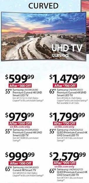 "BJs Wholesale Black Friday: Samsung UN55MU6490 55"" 4K UHD Smart Curved LED TV for $599.99"