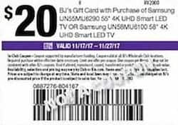 "BJs Wholesale Black Friday: $20 BJ's Gift Card w/ Purchase of 55"" Samsung UN55MU6290 4K UHD Smart LED TV or 58"" Samsung UN58MU6100 4K UHD Smart LED TV - Free w/ Purchase"