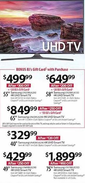 "BJs Wholesale Black Friday: Samsung UN65MU6290 65"" 4K UHD Smart TV + $50 BJ's Gift Card for $849.99"