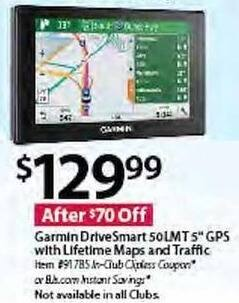 "BJs Wholesale Black Friday: Garmin DriveSmart 50LMT 5"" GPS w/ Lifetime Maps and Traffic for $129.99"