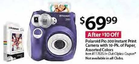 BJs Wholesale Black Friday: Polaroid Pic-300 Instant Print Camera w/ Paper 10-pk, Assorted Colors for $69.99