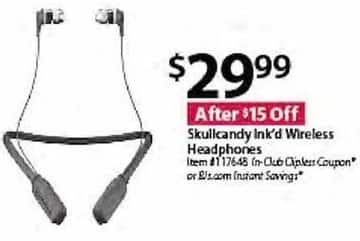 BJs Wholesale Black Friday: Skullcandy Ink'd Wireless Headphones for $29.99