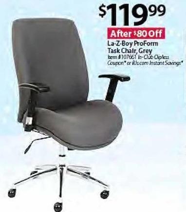 BJs Wholesale Black Friday: La-Z-Boy ProForm Task Chair, Grey for $119.99