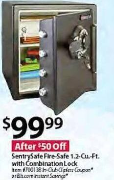 BJs Wholesale Black Friday: SentrySafe 1.2 Cu. Ft. Fire Safe w/ Combination Lock for $99.99